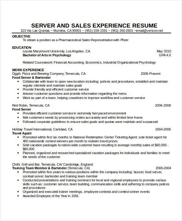 resume for a waiter