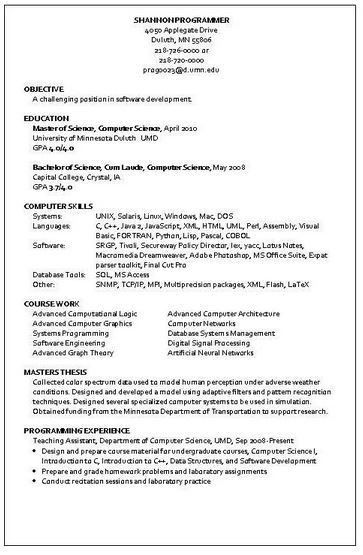 sample programmer resume click here to download this computer