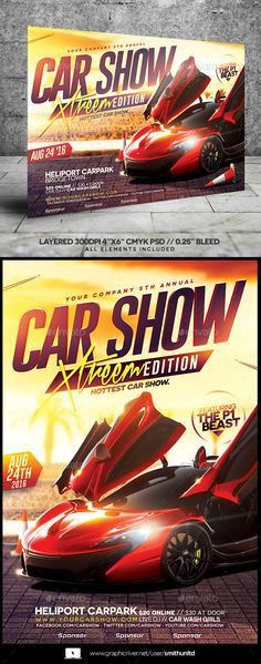 Car Show Flyer | Flyer template, Layout design and Font logo
