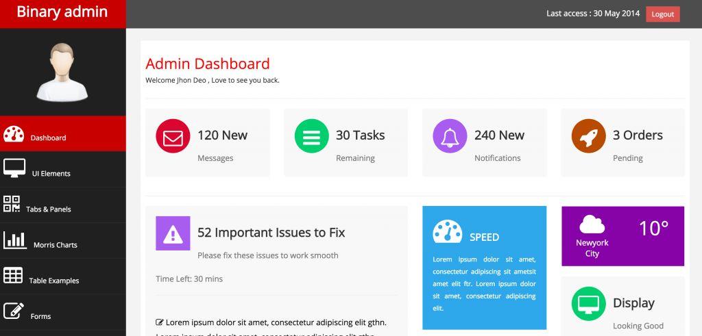 10+ Free Bootstrap 3 Admin Dashboard Templates - ReadyTheme