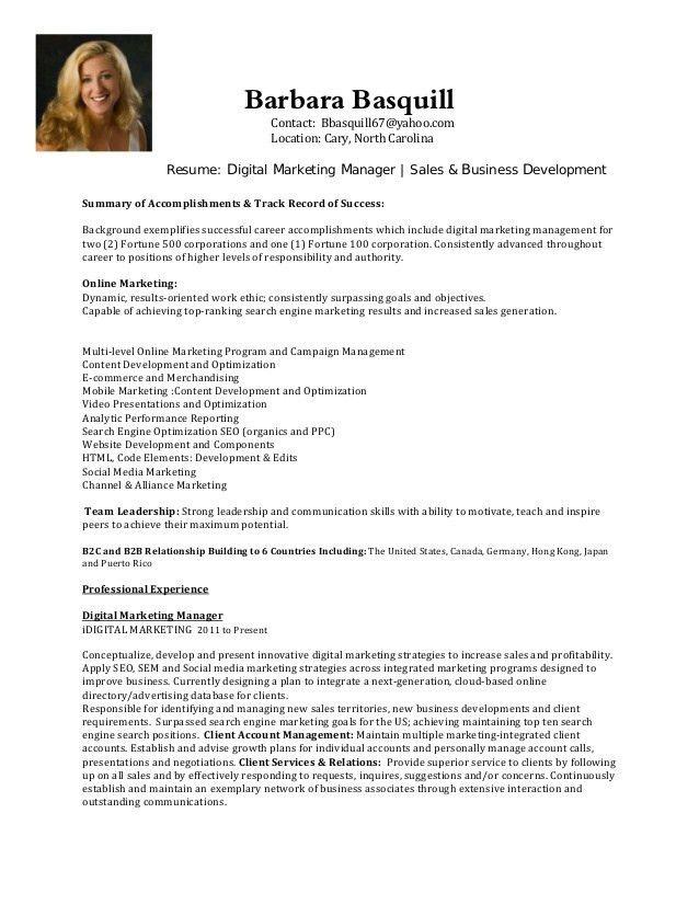 Digital Marketing Manager | Sales & Business Development Resume B.Bas…