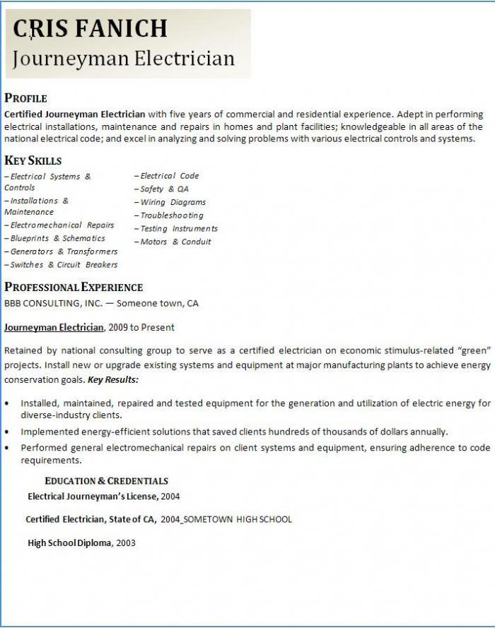Master Electrician Resume Example 1 | ilivearticles.info