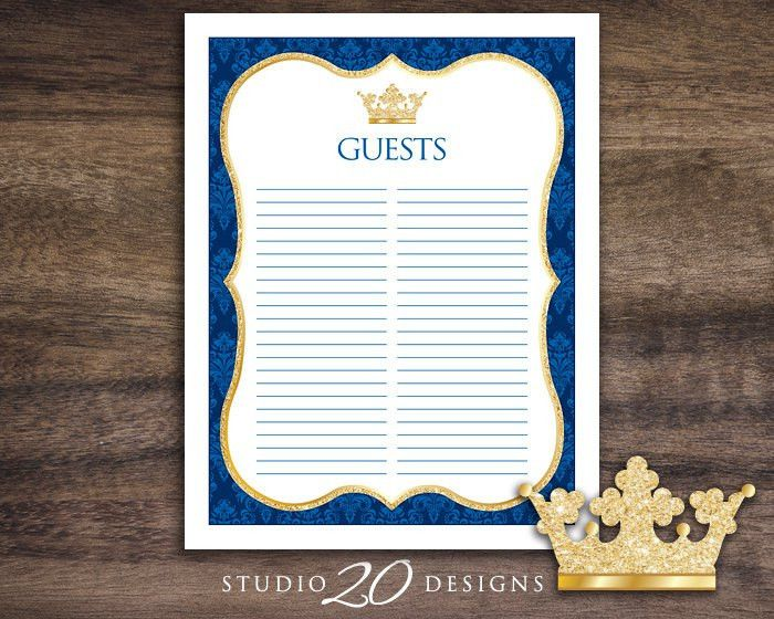 Instant Download Royal Blue Prince Guest List Printable Blue