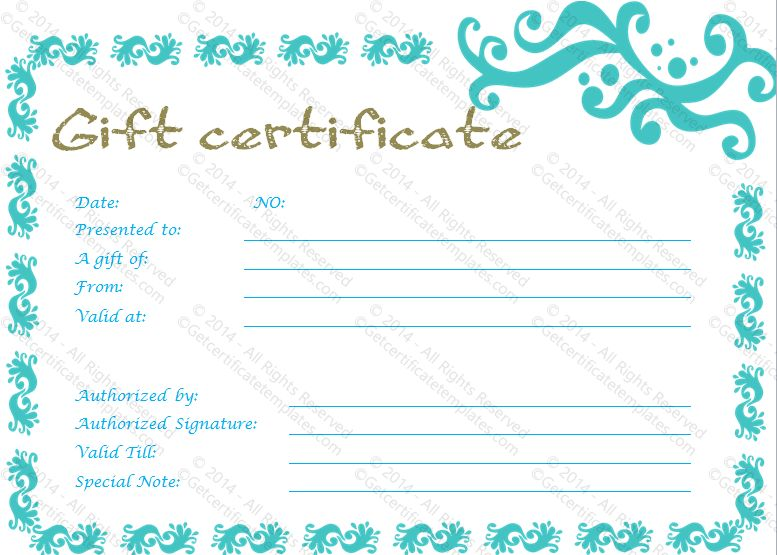 Graceful Gift Certificate Template