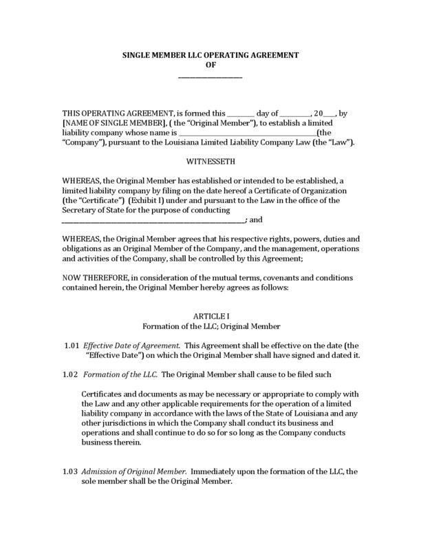 Louisiana Single Member LLC Operating Agreement | LegalForms.org