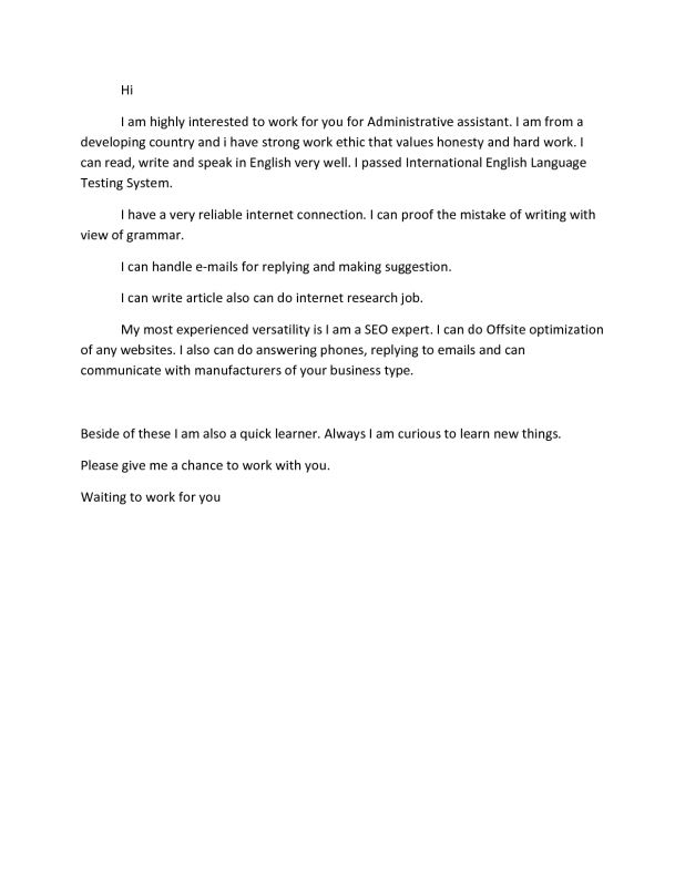 Sample Of Cover Letter For Administrative Assistant Administrative