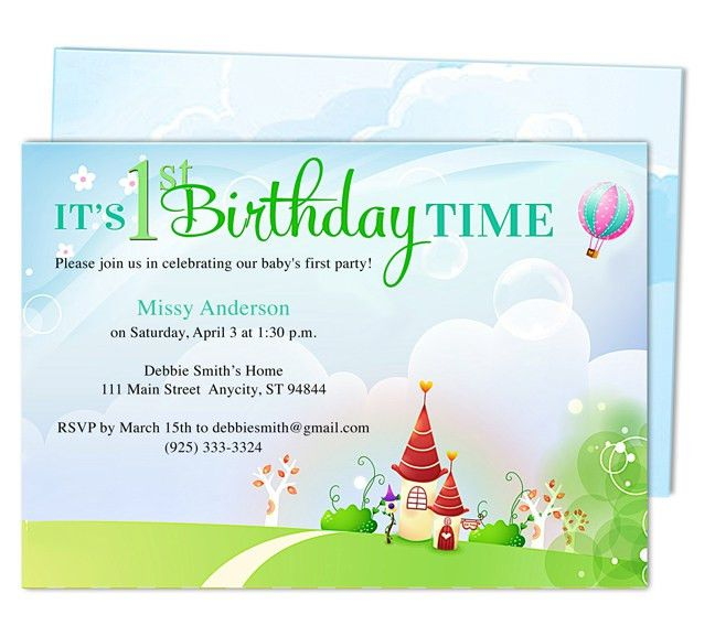 Kiddie Landscape 1st Birthday Party Invitation Templates. Easy to ...