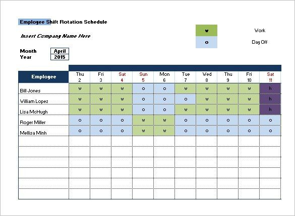 shift schedules template