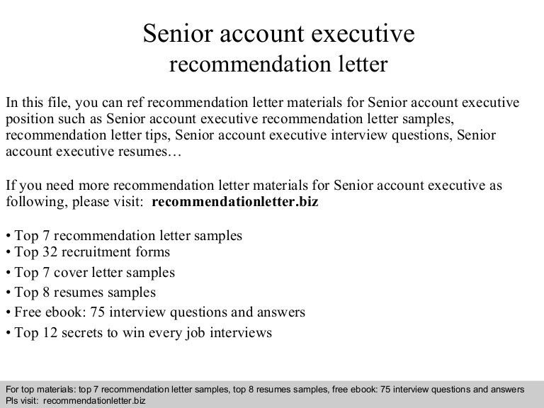 Senior account executive recommendation letter