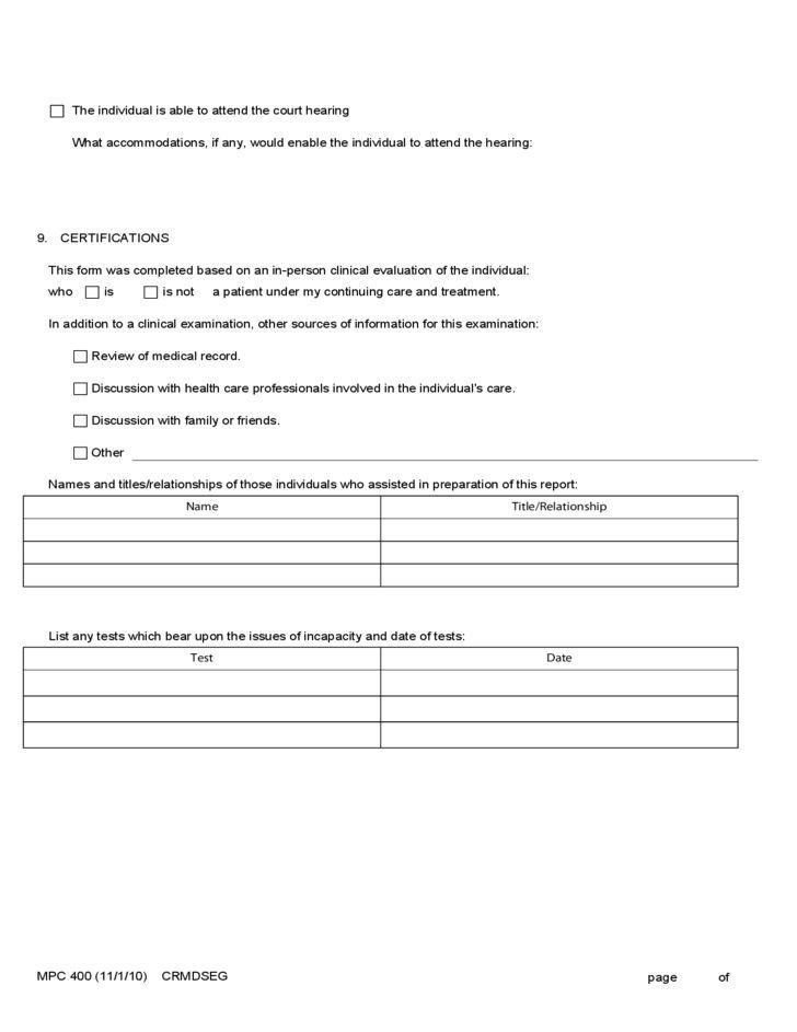 Medical Certificate Guardianship or Conservatorship Form Free Download