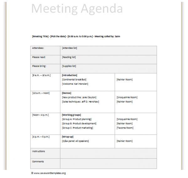 sample meeting agenda template | Professional Templates