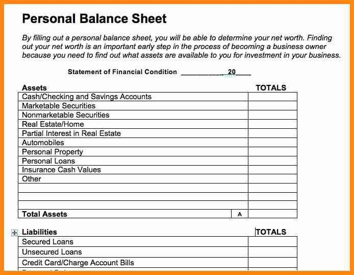 4+ personal balance sheet template | model resumed