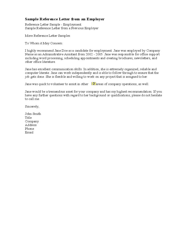 Sample Recommendation Letter from a Previous Employer Free Download