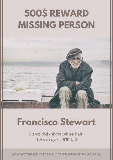 Ferra Old Man Bordered Missing Poster - Templates by Canva