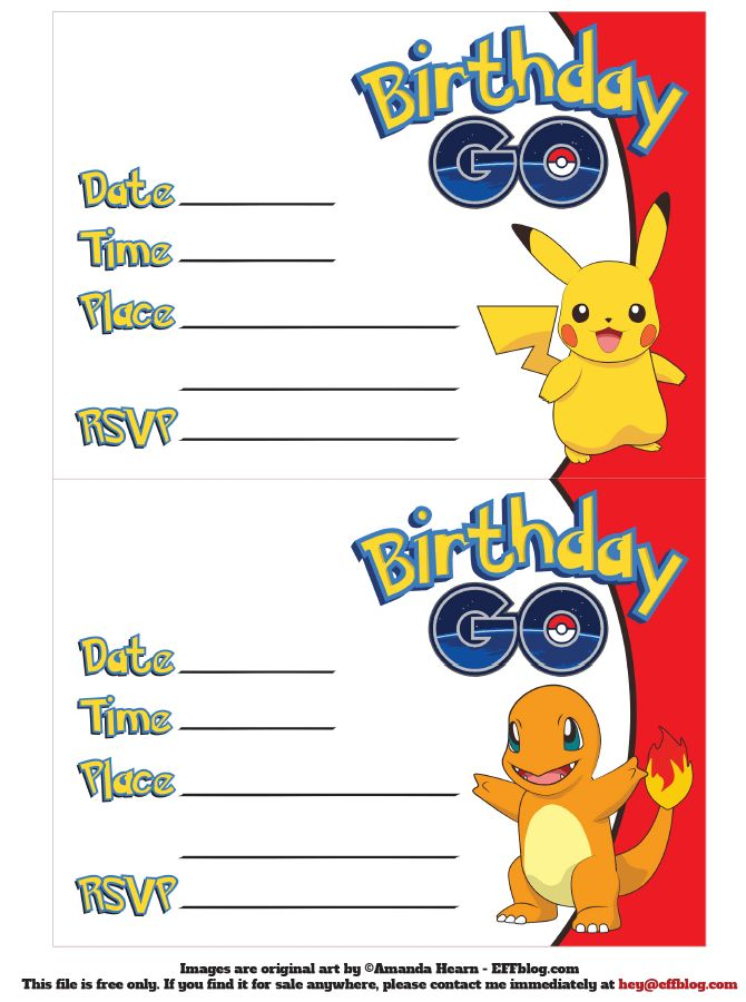 Pokémon GO: Birthday GO Free Printable Invitations | Free ...