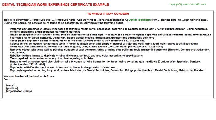 Dental Technician Work Experience Certificate