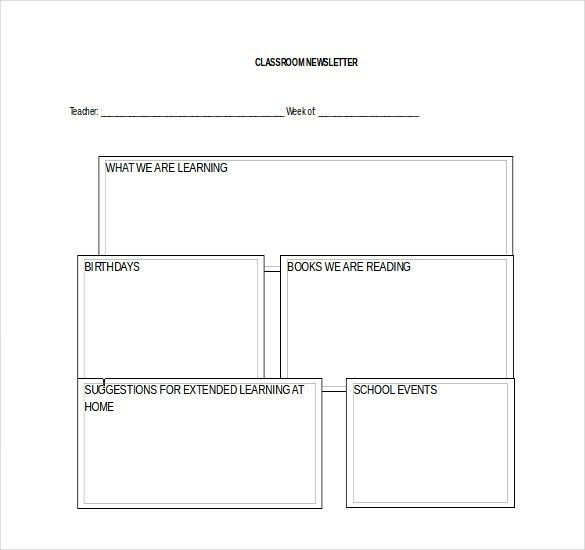 Classroom Newsletter Template – 9+ Free Word, PDF Documents ...