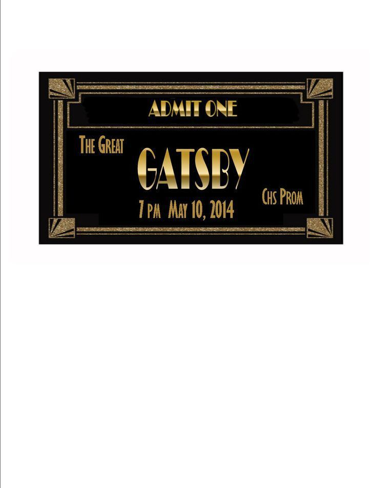 Gatsby prom ticket | SPARKLE TICKET SAMPLE This is a quick cut and ...