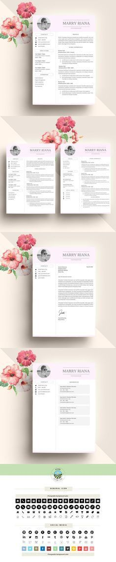 Fully Editable Modern & Feminine Résumé Template Design | Beauty ...