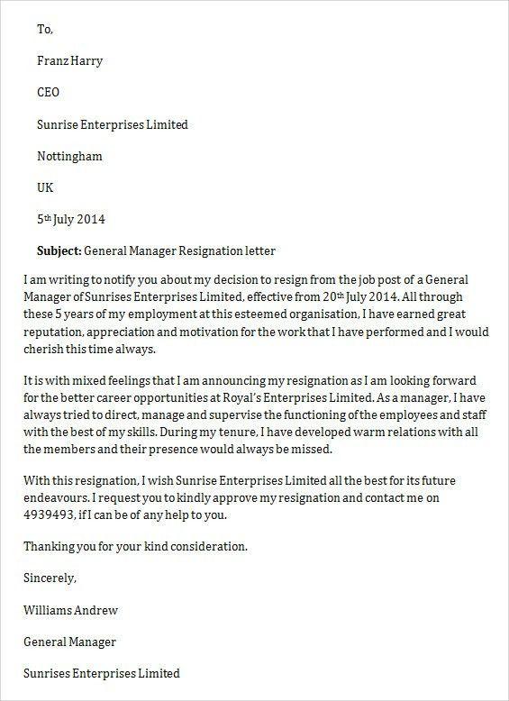 Resignation Letter Format: Manager Job General Letter Of ...