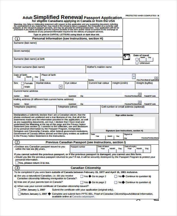 Passport Application Form. Passport Renewal Application Form 35+ .