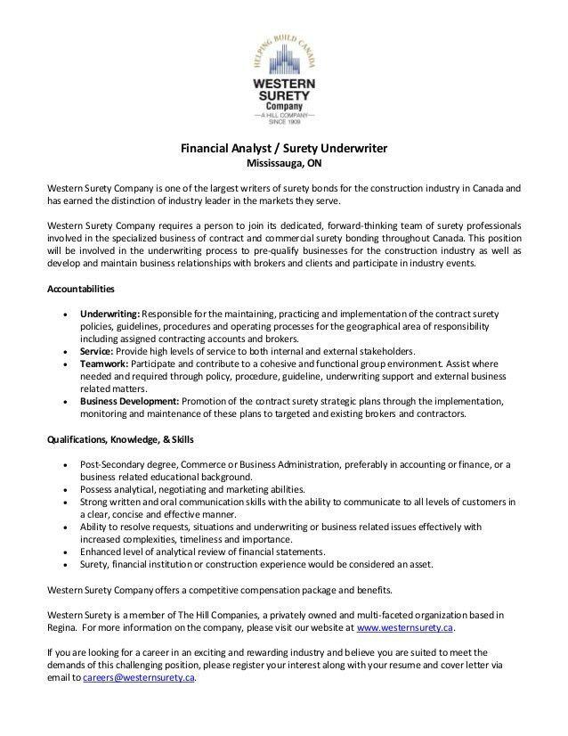 Job Opening - Financial Analyst / Surety Underwriter - Mississauga, ON