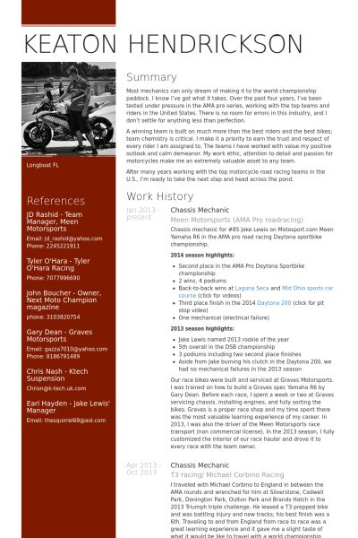 Mechanic Resume samples - VisualCV resume samples database