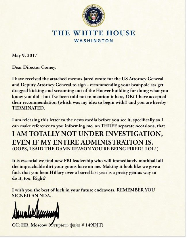 President's Termination Letter to FBI Director James Comey   TRUMP ...