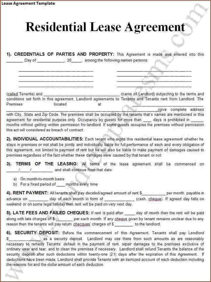4+ lease agreement template word | Outline Templates