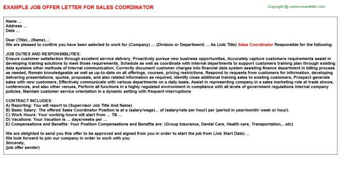 Sales Coordinator Offer Letter