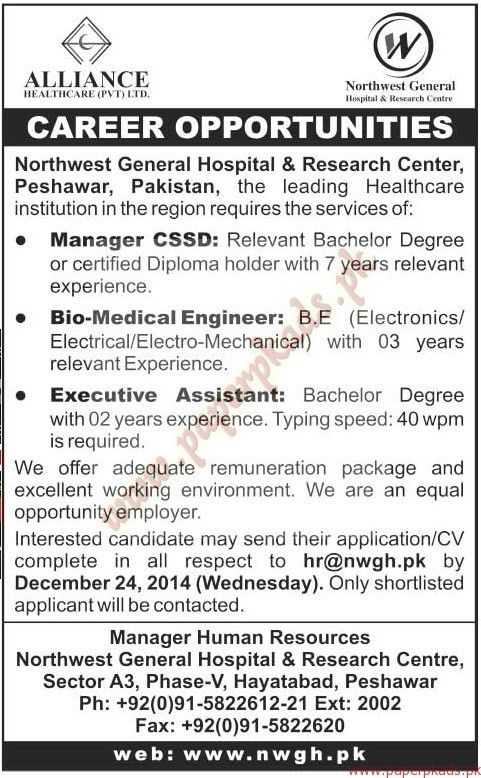 Manager CSSD, Bio-Medical Engineer, Executive Assistant Jobs - The ...
