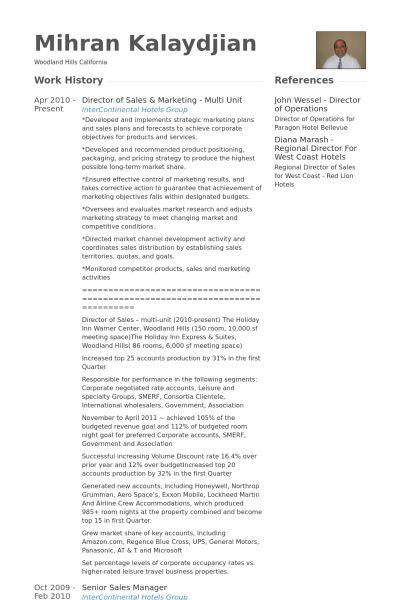 Director Of Sales & Marketing Resume samples - VisualCV resume ...