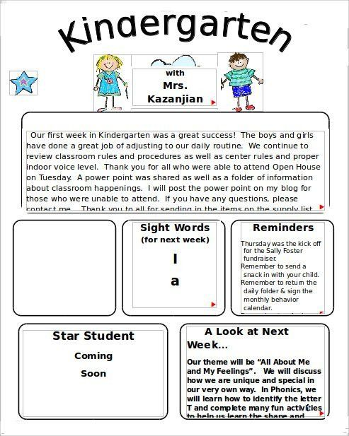 Kindergarten Newsletter Template | Template Design