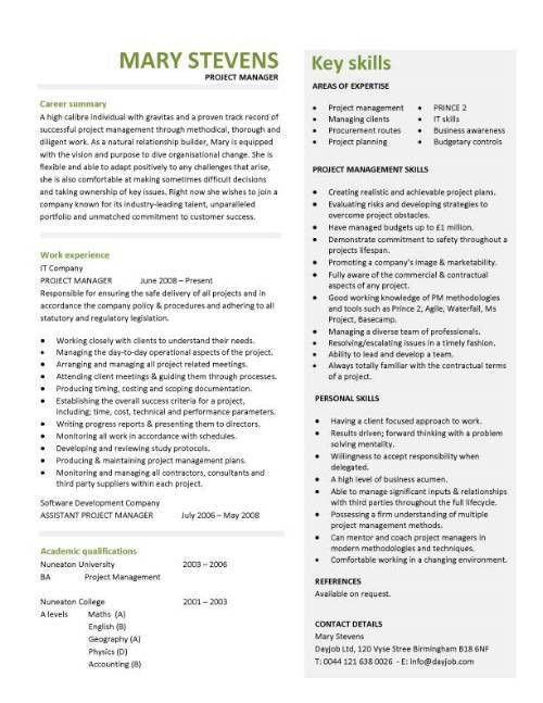 Project Manager Resume Format 21 Project CV Template Construction ...