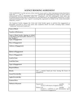 Booking Agent Contract Template. Long Term Artist Management ...