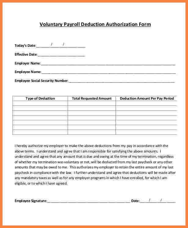 8+ payroll deduction authorization form template | Securitas Paystub