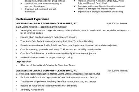 insurance adjuster resume sample stonevoicesco. claims adjuster ...