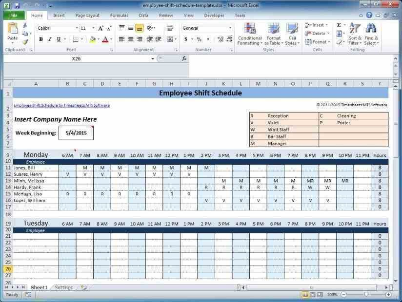 staff schedule template