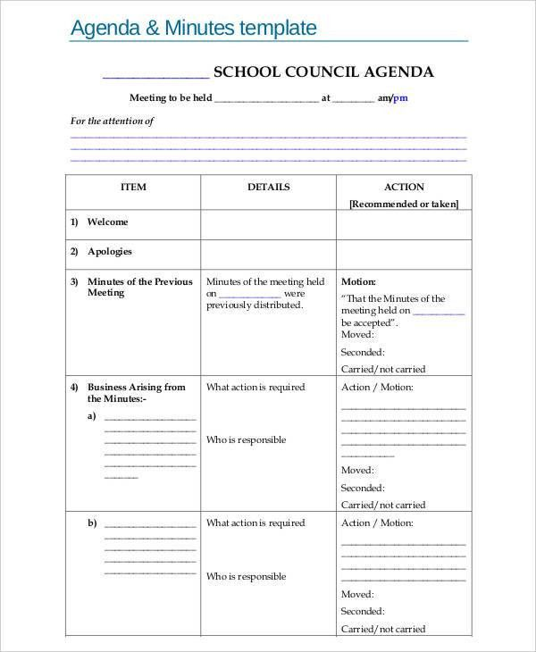 9+ Agenda Minutes Templates - Free Word, PDF Format Download ...