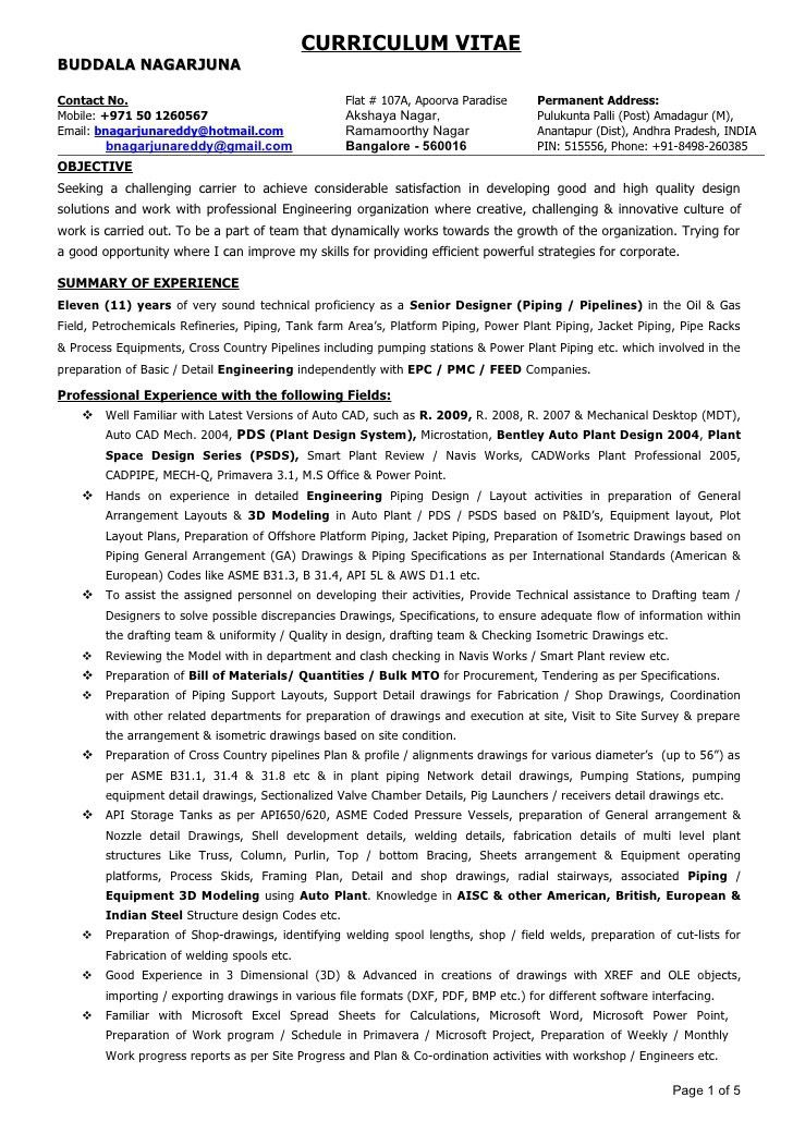 28+ [ Piping Design Engineer Resume Sample ] | Assistant Ing 233 ...