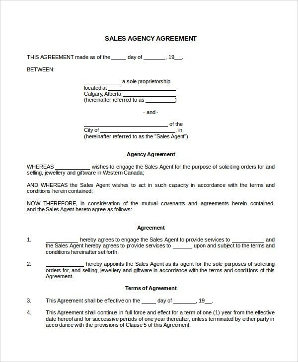 Sample Sales Agency Agreement Templates - 7+ Free Documents ...