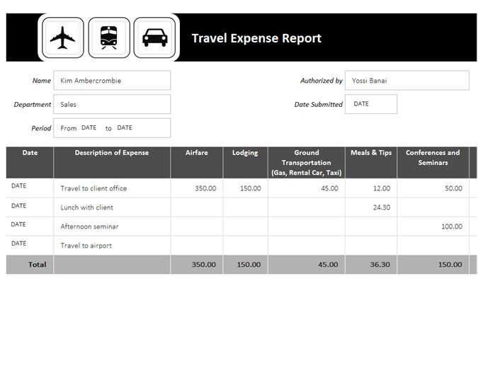 Travel expense report - Office Templates