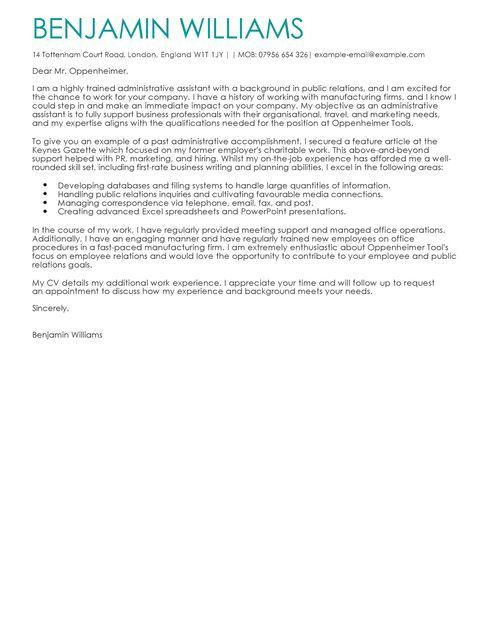 Administrative Assistant Cover Letter Examples for Admin | LiveCareer