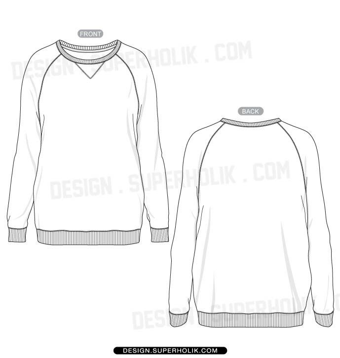 Women's raglan shirt template | Fashion sketches, Drawing clothes ...