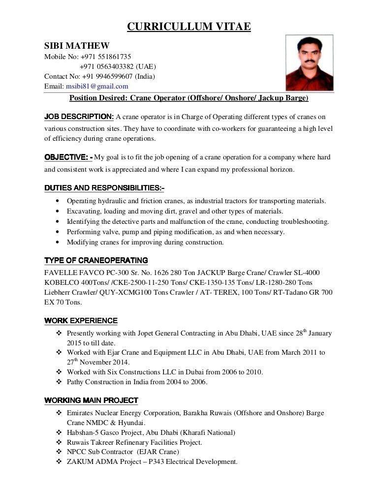 Mobile Crane Operator Resume. forklift resume 21 forklift operator ...