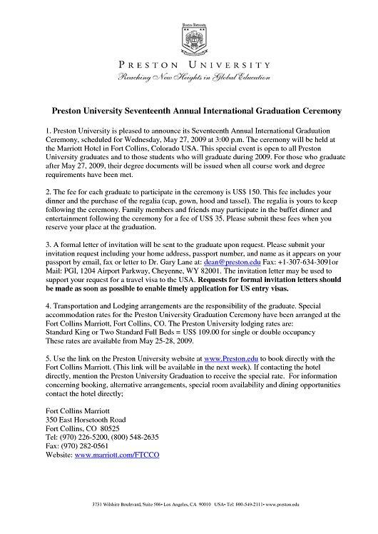 sample graduation invitation letter – Party Invitation Ideas
