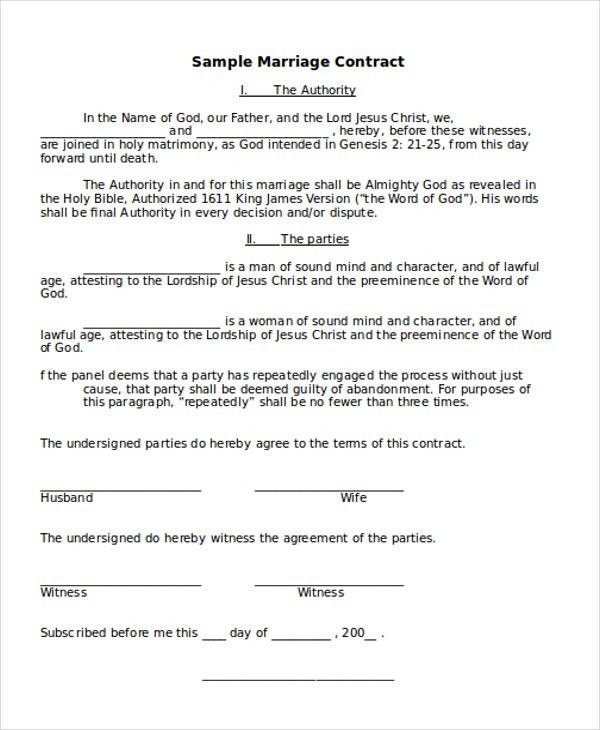 Marriage Contract Template. Event Photography Contract Template .
