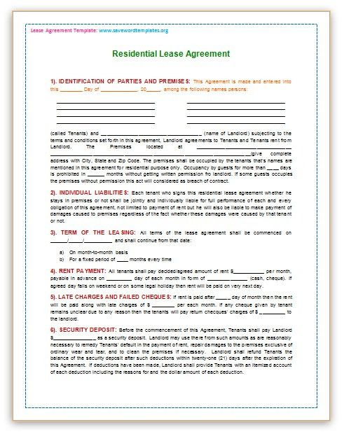 Save Word Templates: Rental Agreement Template