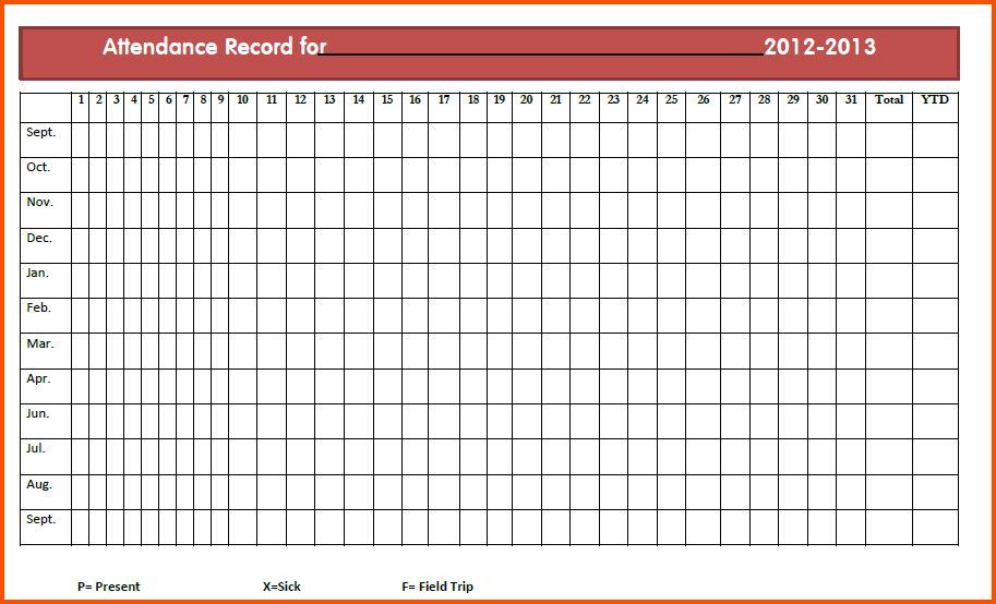 13+ attendance sheet online | Survey Template Words