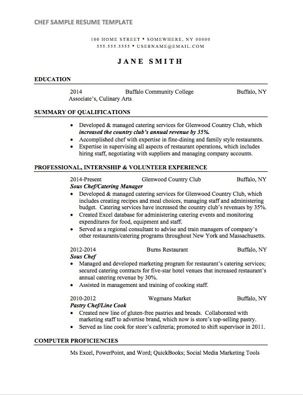 Chef Resume Sample | Internships.com